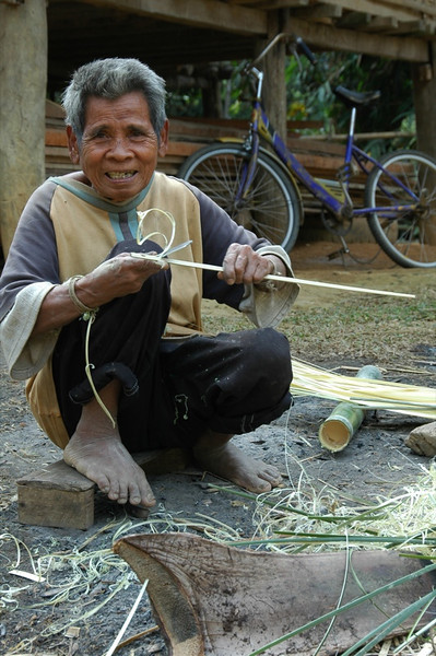 Man Working on Bamboo - Nong Khiaw, Laos