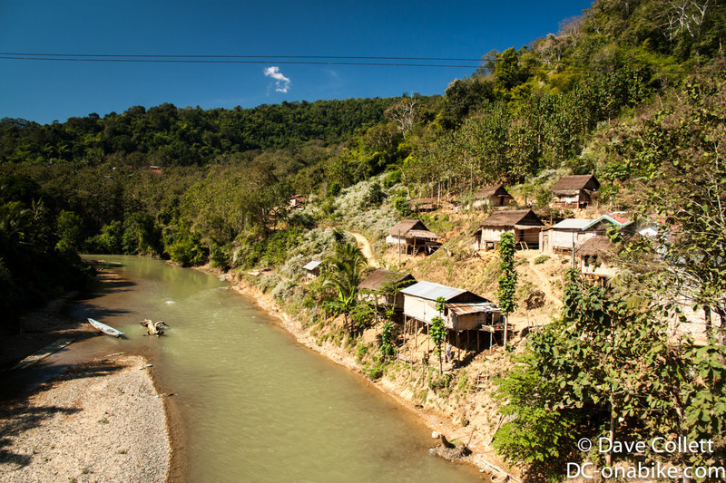 Small village beside a river