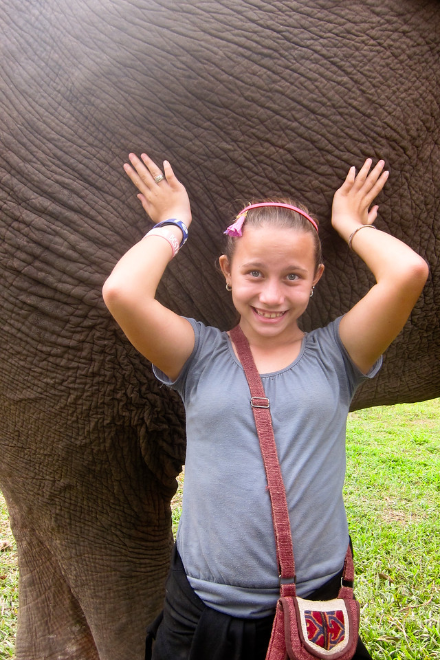 Ana is dwarfed in size by the huge bull elephant.