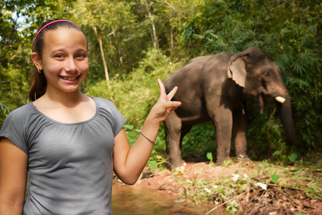 Ana and a bull elephant.