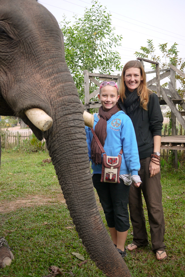 Ana and me with an elephant in Laos.