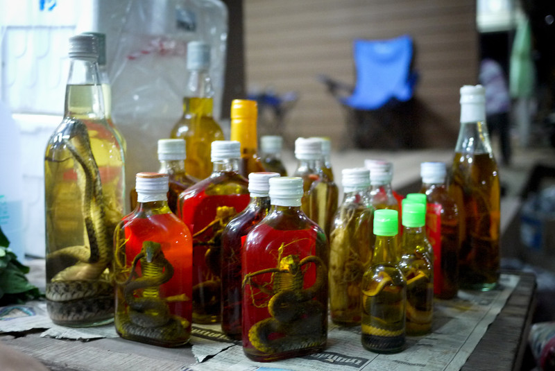Laos Laos whiskey with snakes and creepy-crawlies from the Bokeo province in Laos.