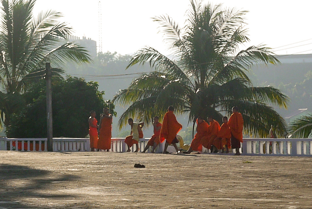 Monks in Laos in the early morning.