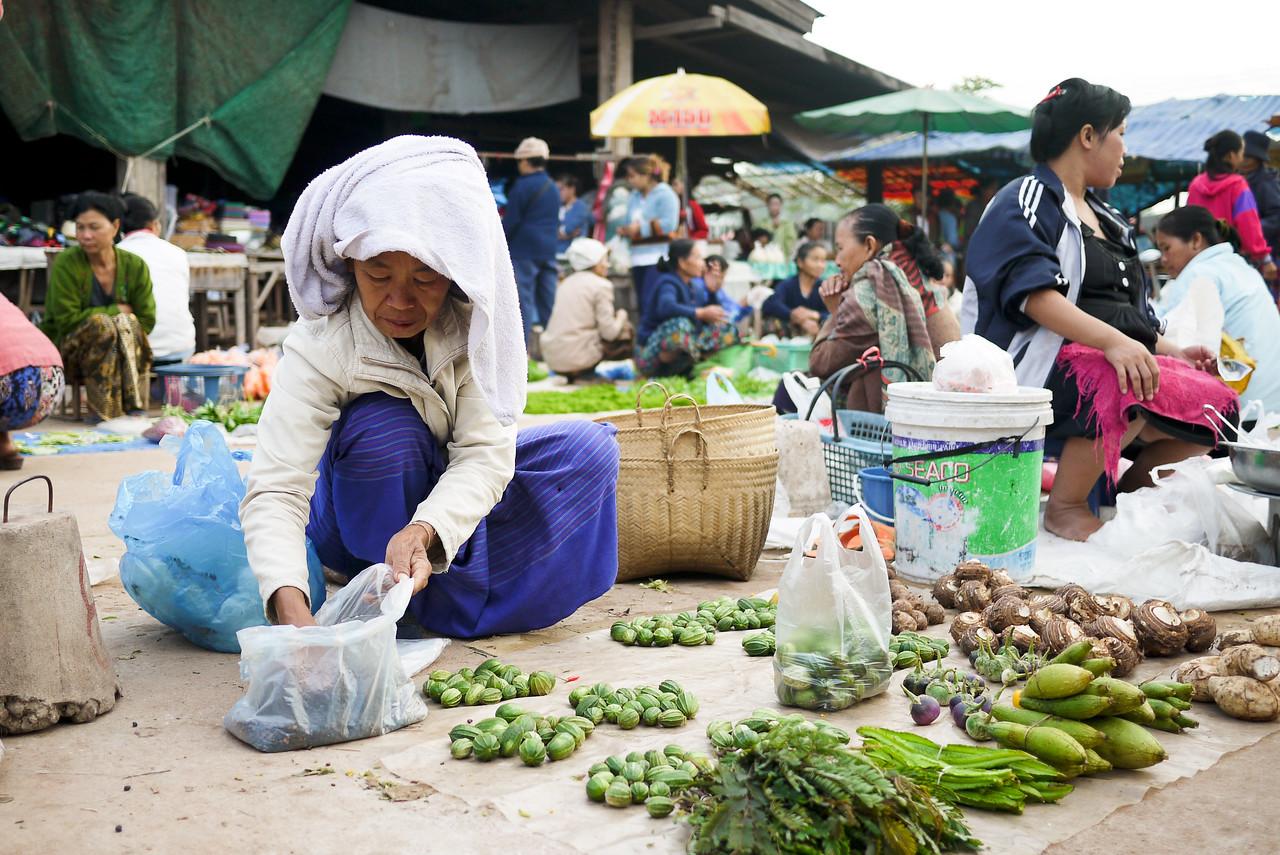 The Hongsa morning market in Laos.