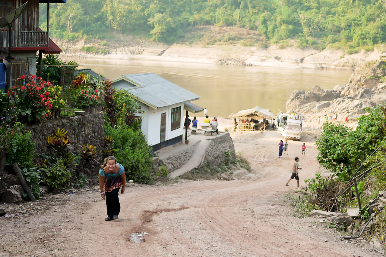 Getting a work out as we spend the day in Tha Suang, Laos waiting for the afternoon's shared taxi up to Hongsa.