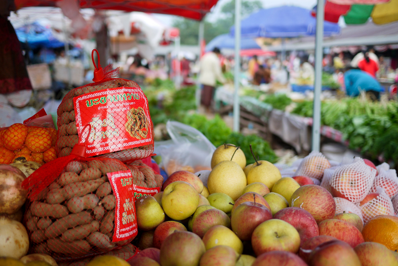The Hongsa market with tamarind, apples, and huge selection of fresh veggies