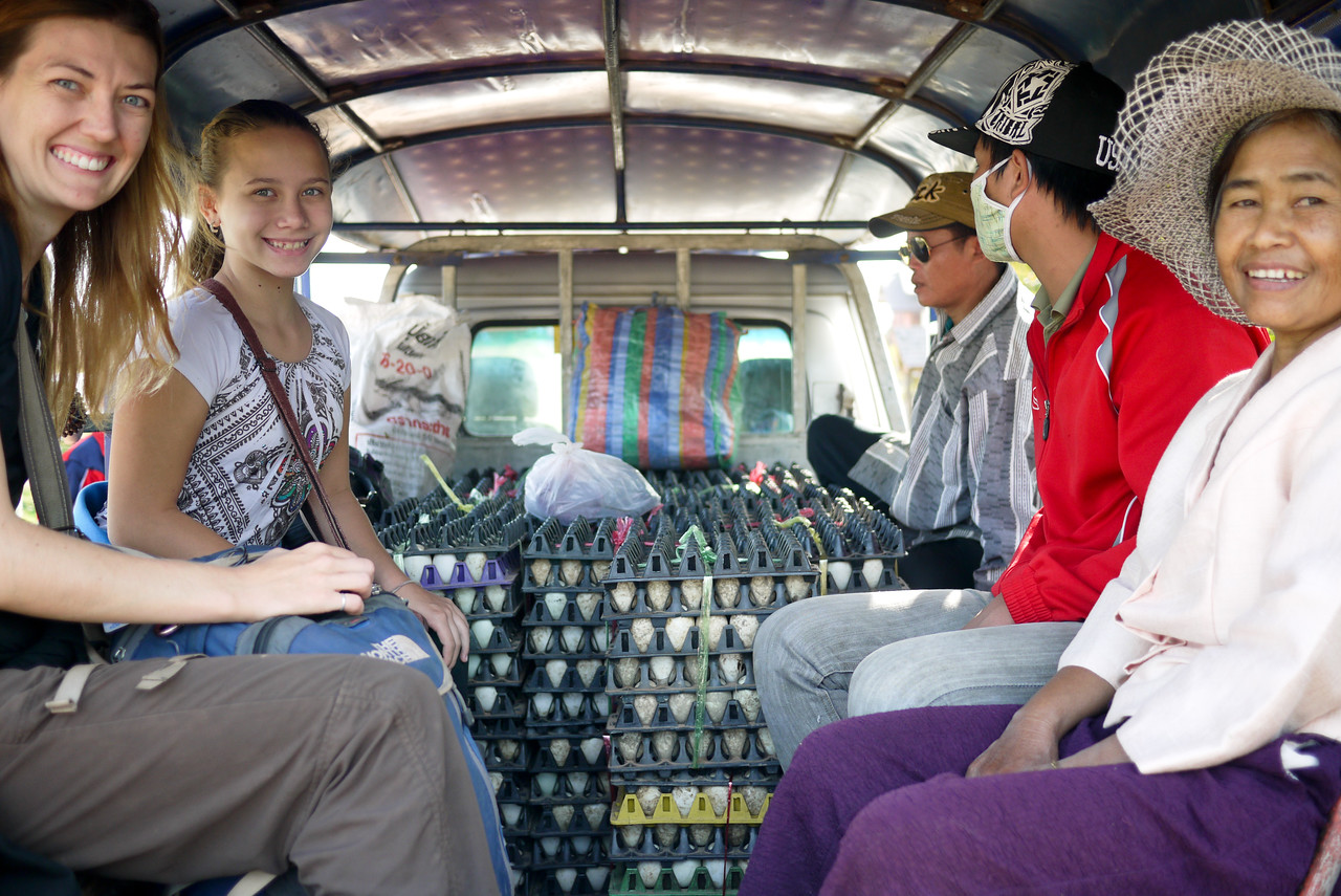 Ana and I shared a tuk-tuk ride down from Hongsa, Laos with dozens upon dozens of eggs!