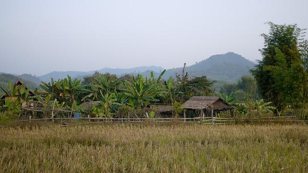 Rice paddies and wooden houses outside of Hongsa, Laos.