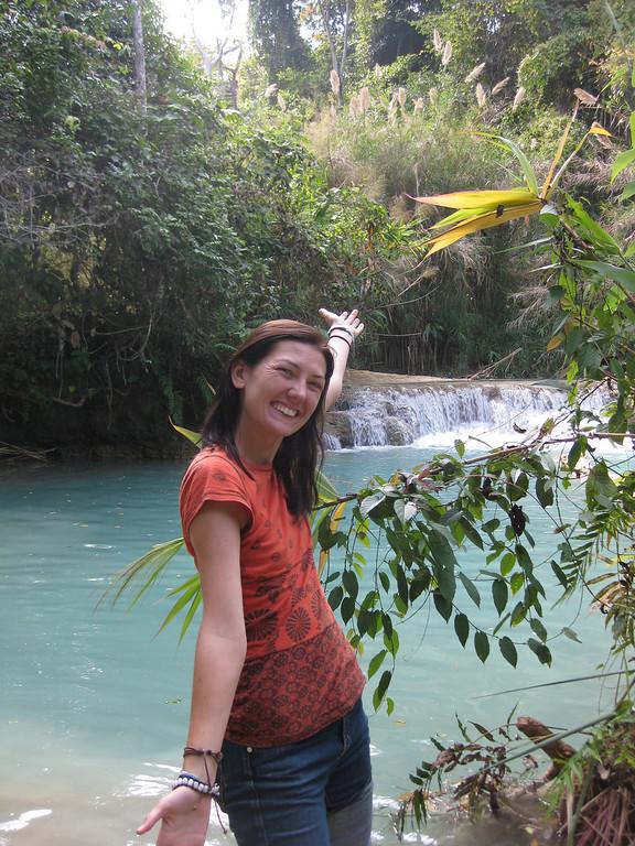 posing at Kuang Si waterfalls
