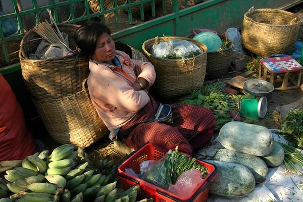 Sleeping Vendor - Luang Prabang, Laos