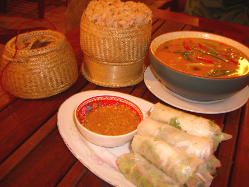 Fresh Springrolls and Fish Curry - Luang Prabang, Laos