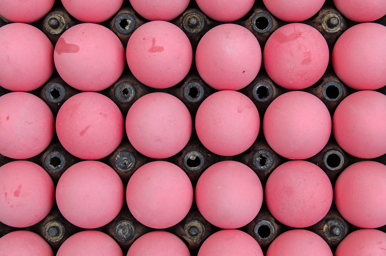 Pink eggs.