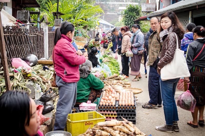 A bustling market street.