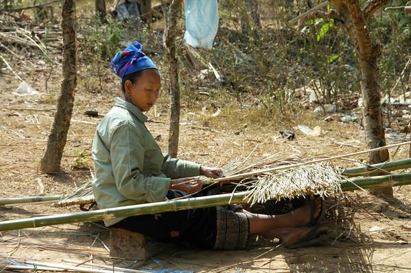 Woman Tying Reeds - Luang Prabang, Laos