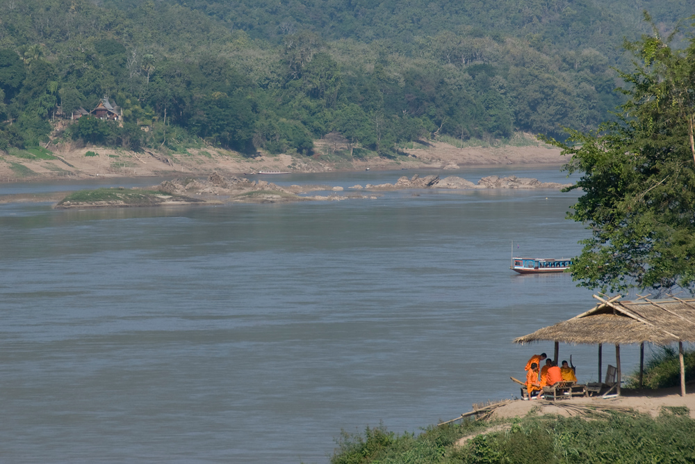 Monks and the Mekong River, Luang Prabang, Laos
