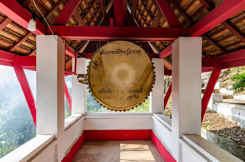 Small temple with a big drum on Mout Phousi.