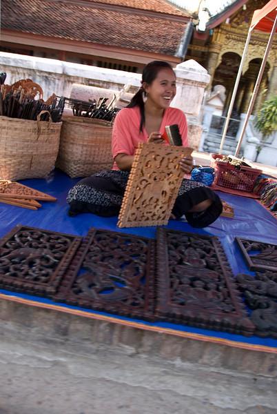 Woman selling crafts at Luang Prang, Laos