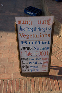 Sign outside a local diner in Luang Prabang, Laos