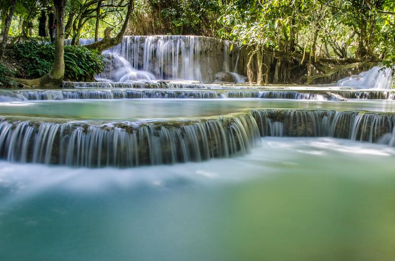 A long exposure of the Kuang Si Waterfall outside of Luang Prabang.