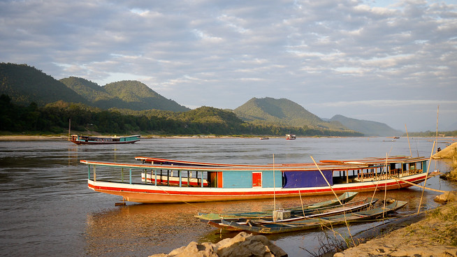 Slow boats in Luang Prabang, Laos