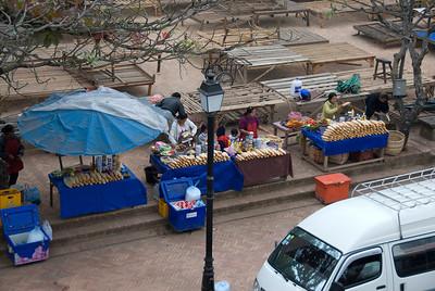 Row of sandwich vendor on a street at Luang Prang, Laos