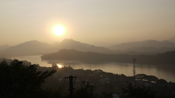 A pretty sunset on the Mekong River in Luang Prabang, Laos