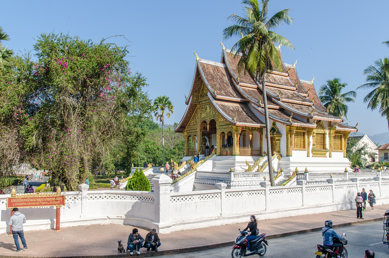 Looking across Sisavangvong Road at Haw Pha Bang temple on the grounds of the Royal Palace.