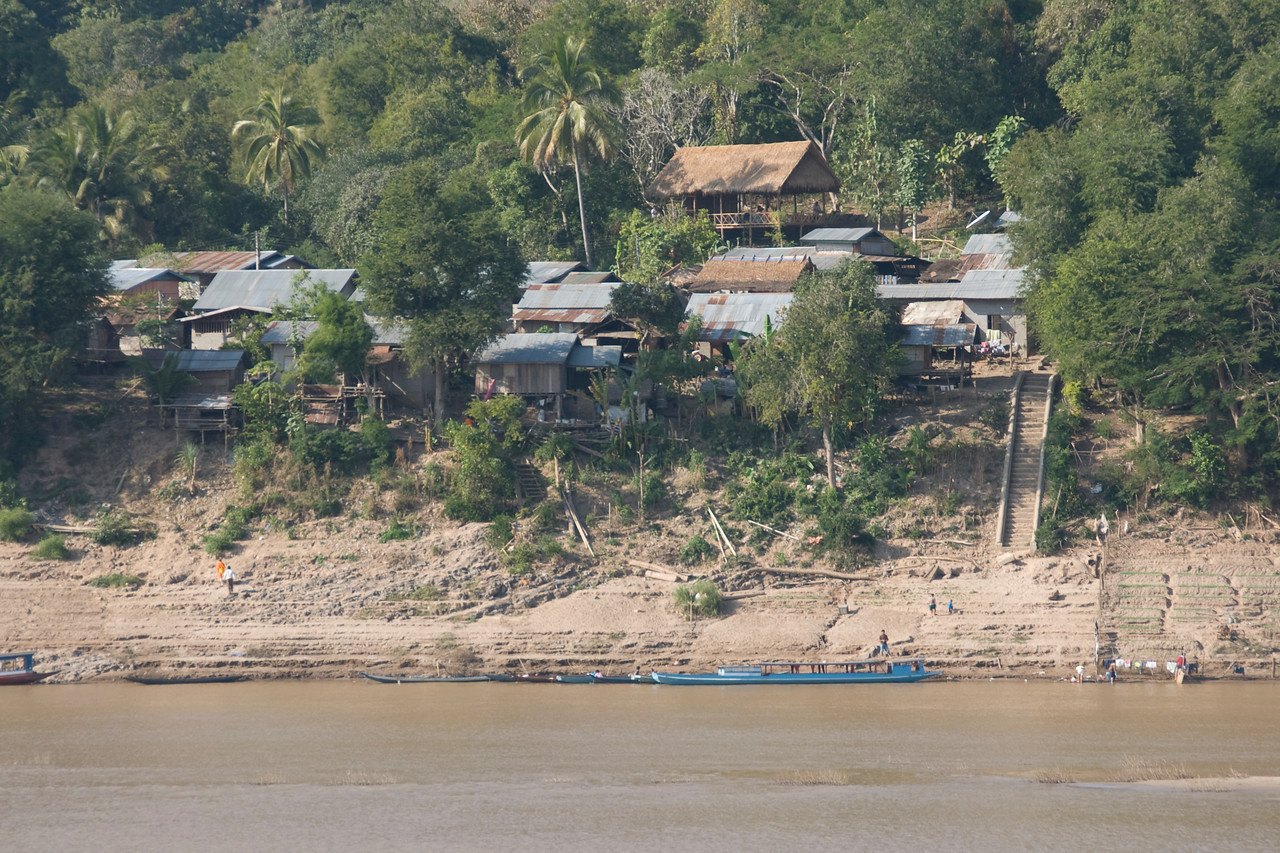 Shot of the houses on village near Mekong River - Luang Prabang, Laos