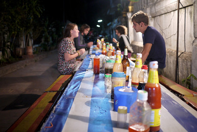 Street eats and condiments in Luang Prabang, Laos