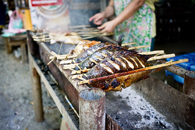 Grilled fresh fish from the near in Luang Prabang, Laos--just outside the Kuang Si Waterfalls.
