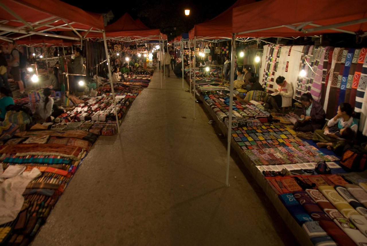 A row of stalls at night market in Luang Prang, Laos