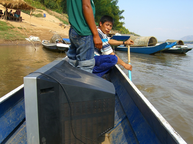TV on the Boat - Luang Prabang, Laos