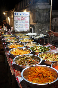 A 10,000 Kip veggie buffet dinner in Luang Prabang, Laos means cheap but tasty eats for about a buck!