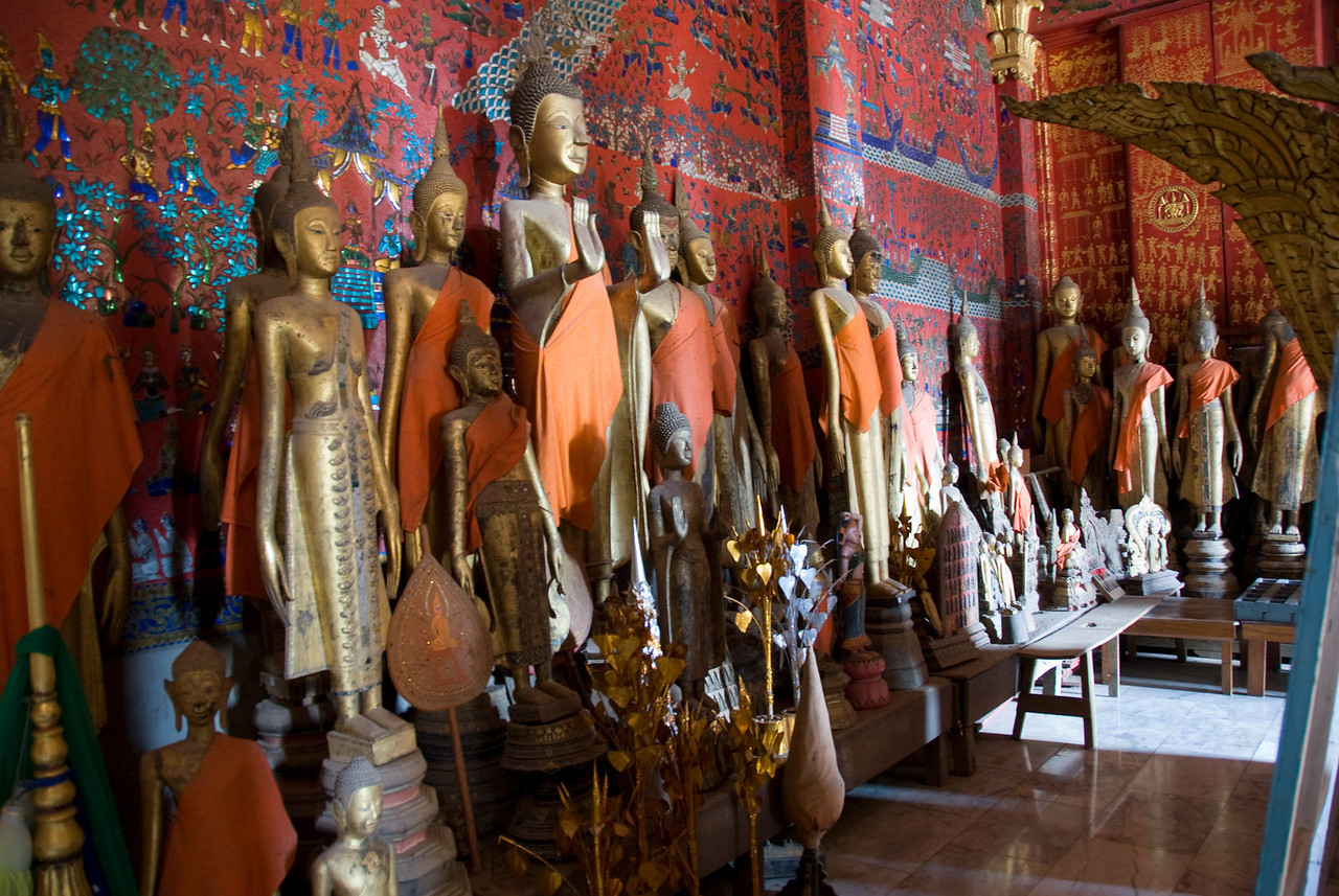 Buddha Statues on display at Luang Prabang, Laos