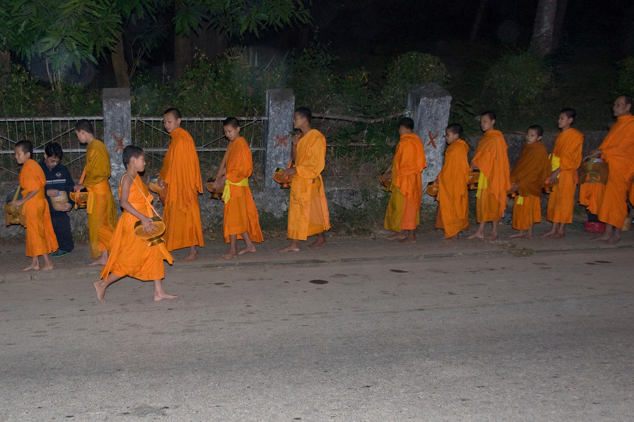Ongoing alms ceremony at Luang Prabang, Laos