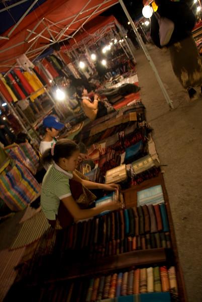 Vendors at night market in Luang Prang, Laos