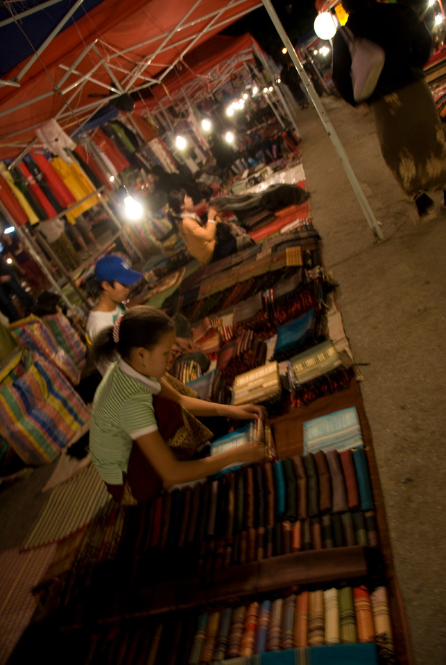 Vendors at night market in Luang Prang, Laos