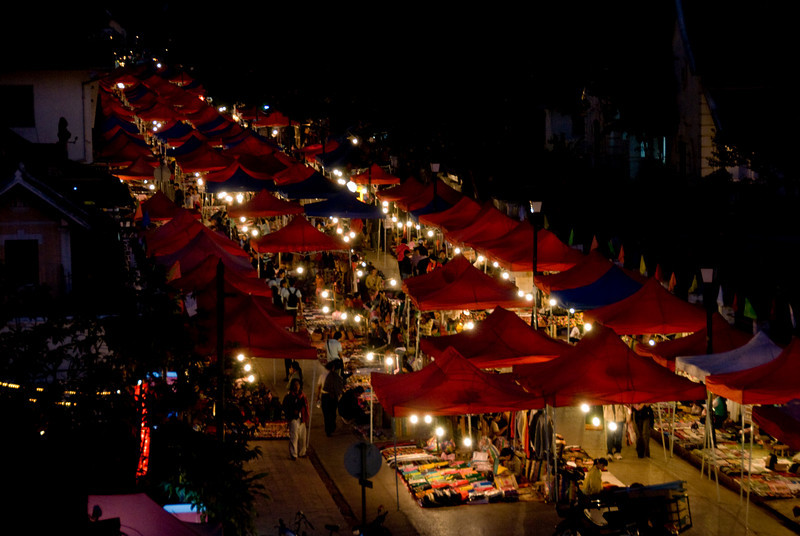 Colorful stalls during night market at Luang Prabang, Laos