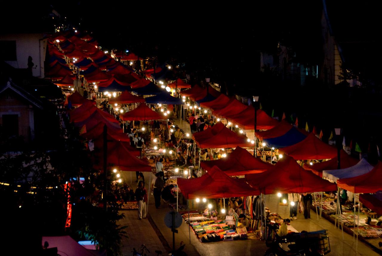Colorful stalls during night market at Luang Prabang, Laos