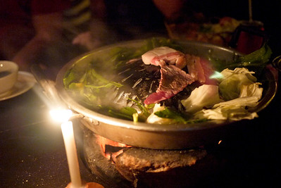 A hot-pot of grilled meat in Luang Prabang, Laos