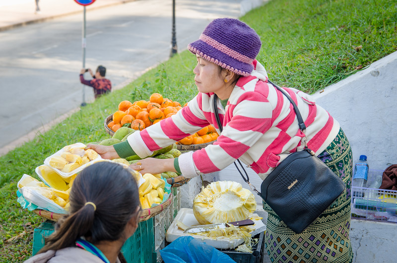 Woman selling fruit on Sisavangvong Road across from the Royal Palace.