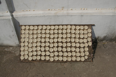 Rice cakes laid out to dry under the sun in Luang Prabang, Laos