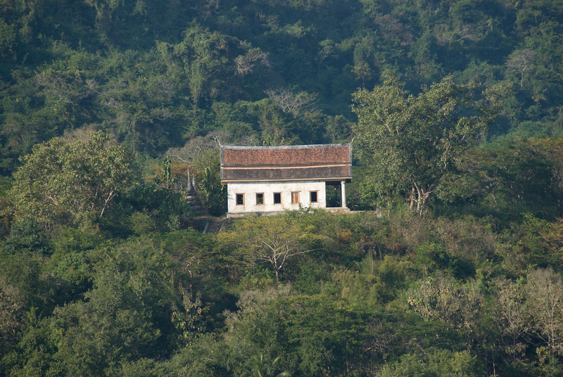 Shot of a temple on hillside at Luang Prang, Laos