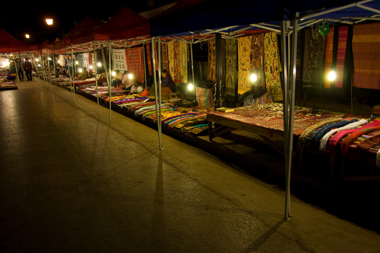 Row of stalls at night market in Luang Prang, Laos