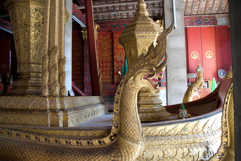 Close-up of dragon at Royal Boathouse in Luang Prabang, Laos