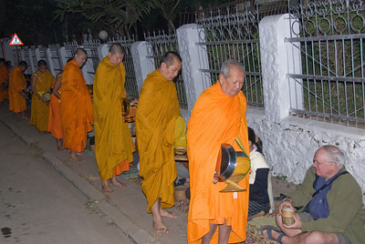 Shot of monks during alms giving ceremony in Luang Prabang, Laos