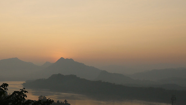 Pretty pinks and oranges on the Mekong River in Luang Prabang, Laos