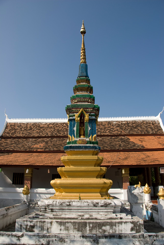 Front view of the shrine at a temple in Luang Prang, Laos