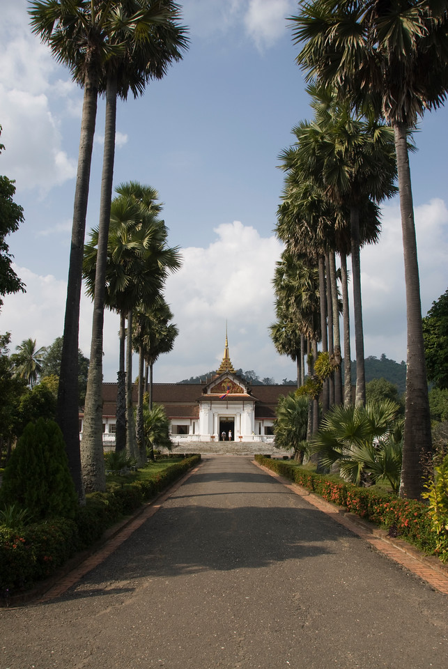 Tree lined path to National Museum in Luang Prang, Laos