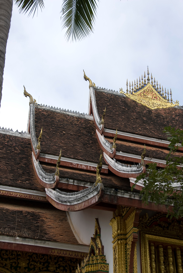 Close-up shot of the temple rooftop in Luang Prang, Laos